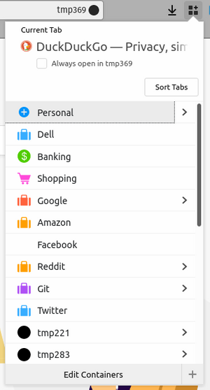 Firefox Multi-Account Containers Menu